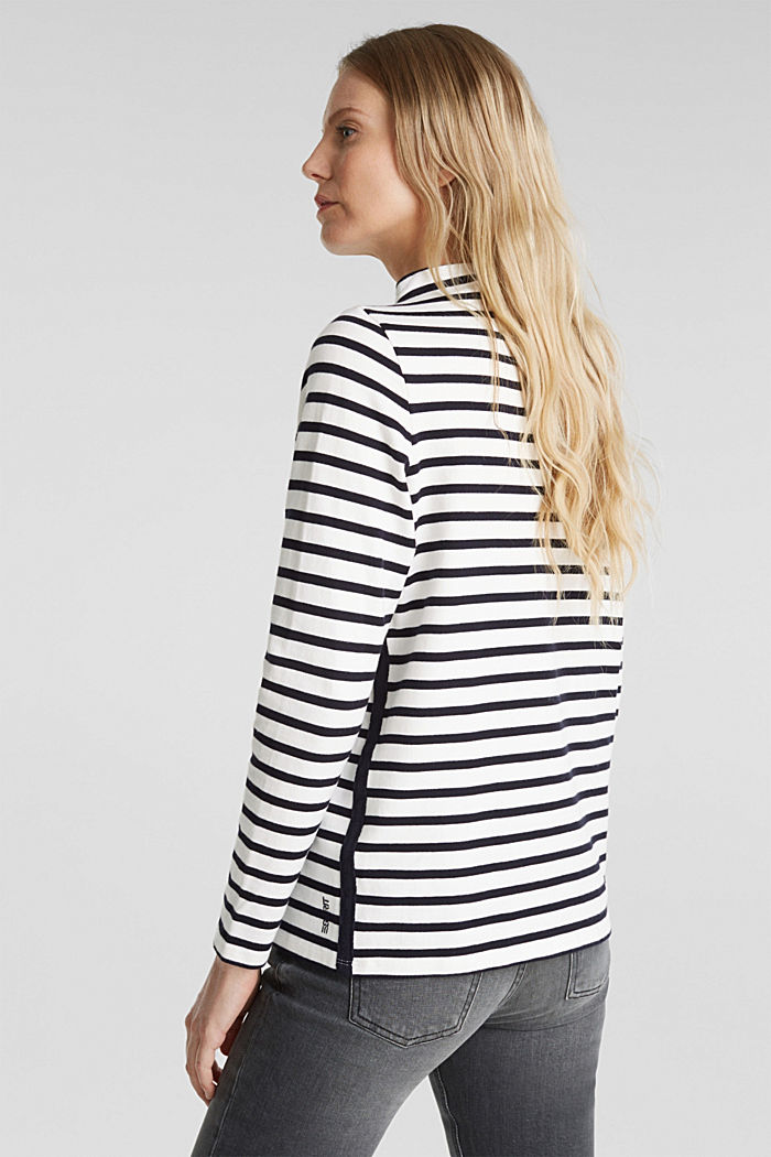 Striped long sleeve top with a band collar, OFF WHITE, detail image number 3