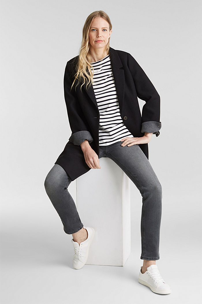 Striped long sleeve top with a band collar, OFF WHITE, detail image number 1
