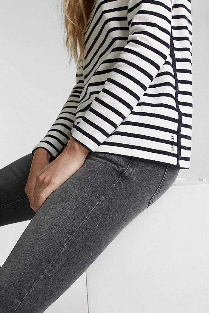 Striped long sleeve top with a band collar, OFF WHITE, detail image number 2