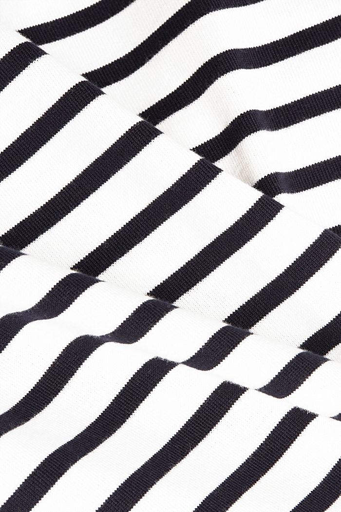 Striped long sleeve top with a band collar, OFF WHITE, detail image number 4