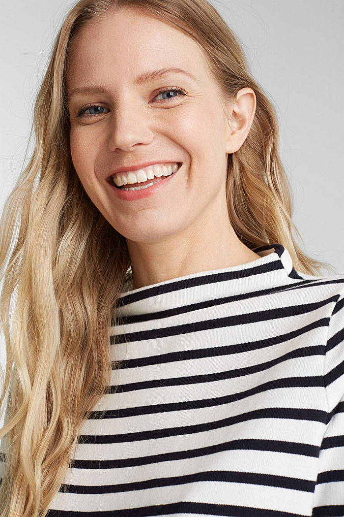 Striped long sleeve top with a band collar, OFF WHITE, detail image number 5