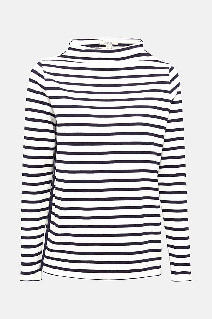 Striped long sleeve top with a band collar, OFF WHITE, detail image number 6