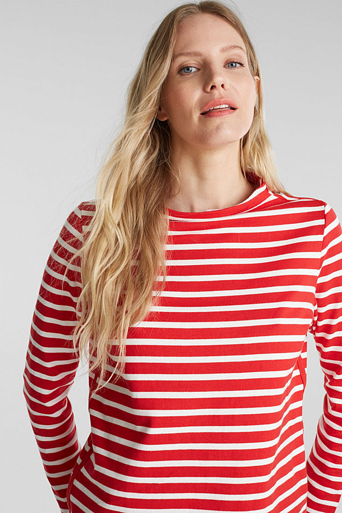 Striped long sleeve top with a band collar, RED, overview