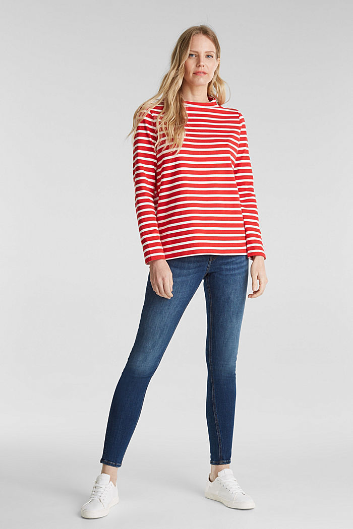 Striped long sleeve top with a band collar, RED, detail image number 1