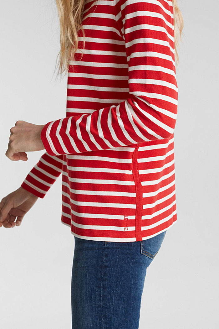 Striped long sleeve top with a band collar, RED, detail image number 2