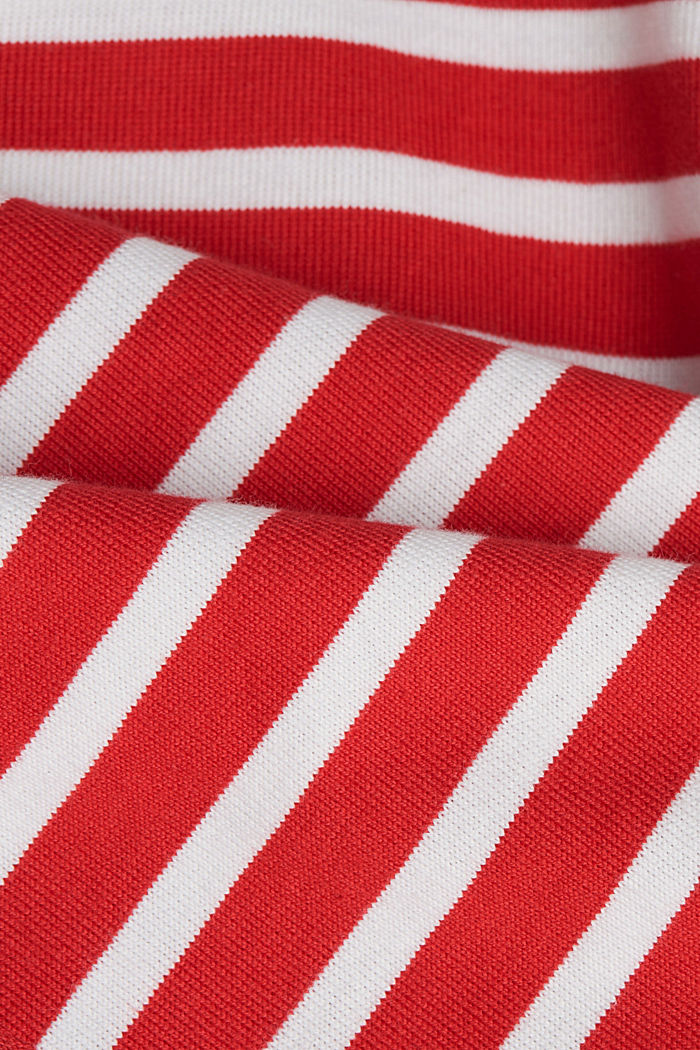 Striped long sleeve top with a band collar, RED, detail image number 4