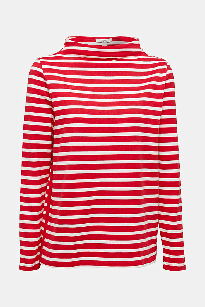 Striped long sleeve top with a band collar, RED, detail image number 5