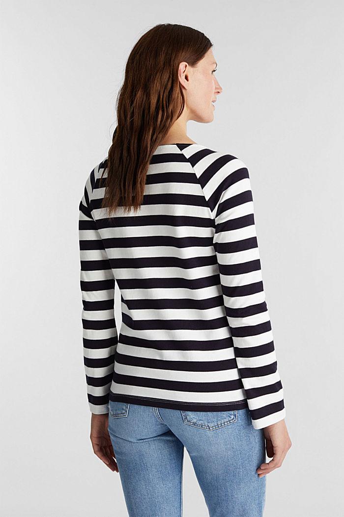 Long sleeve top made of 100% cotton, OFF WHITE, detail image number 3