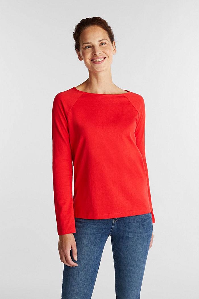 Long sleeve top made of 100% cotton, RED, detail image number 0