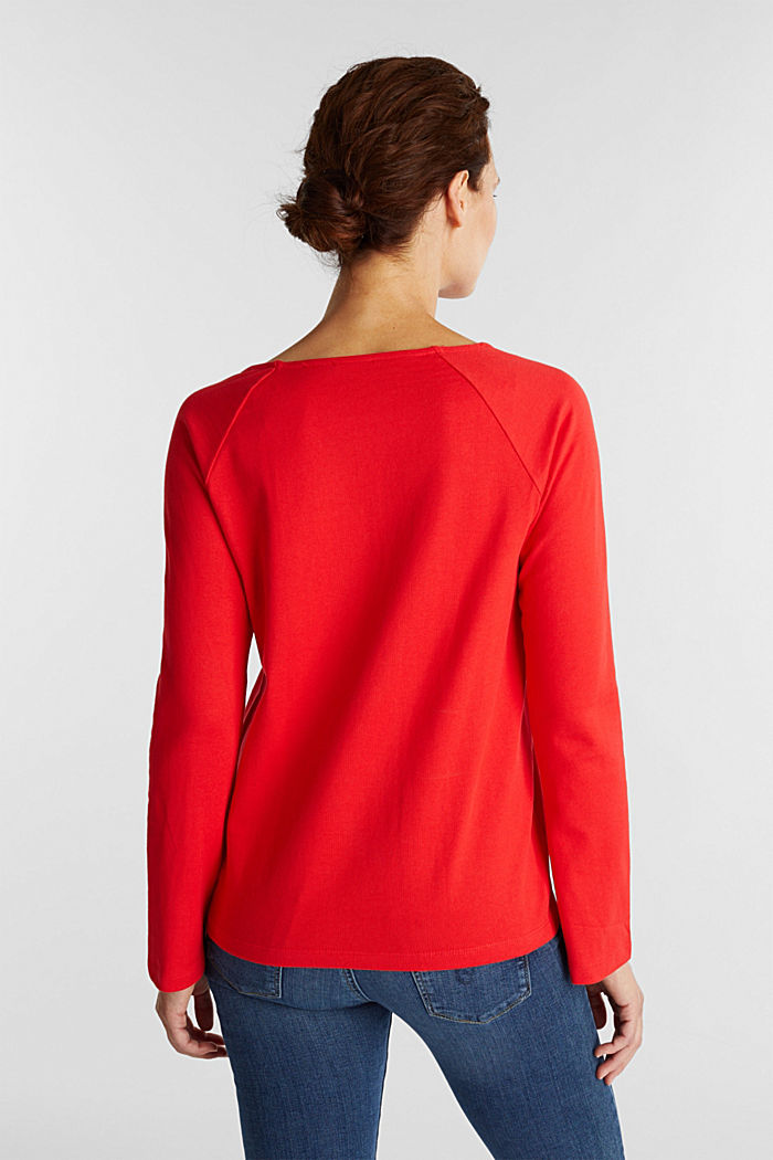 Long sleeve top made of 100% cotton, RED, detail image number 3