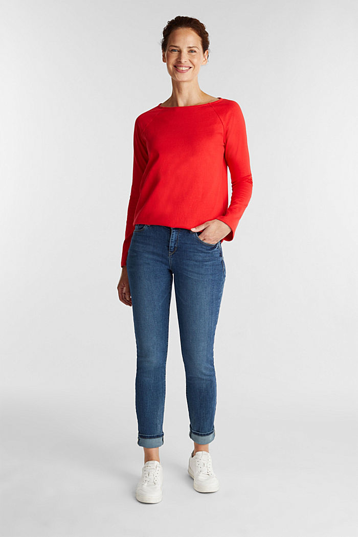 Long sleeve top made of 100% cotton, RED, detail image number 1