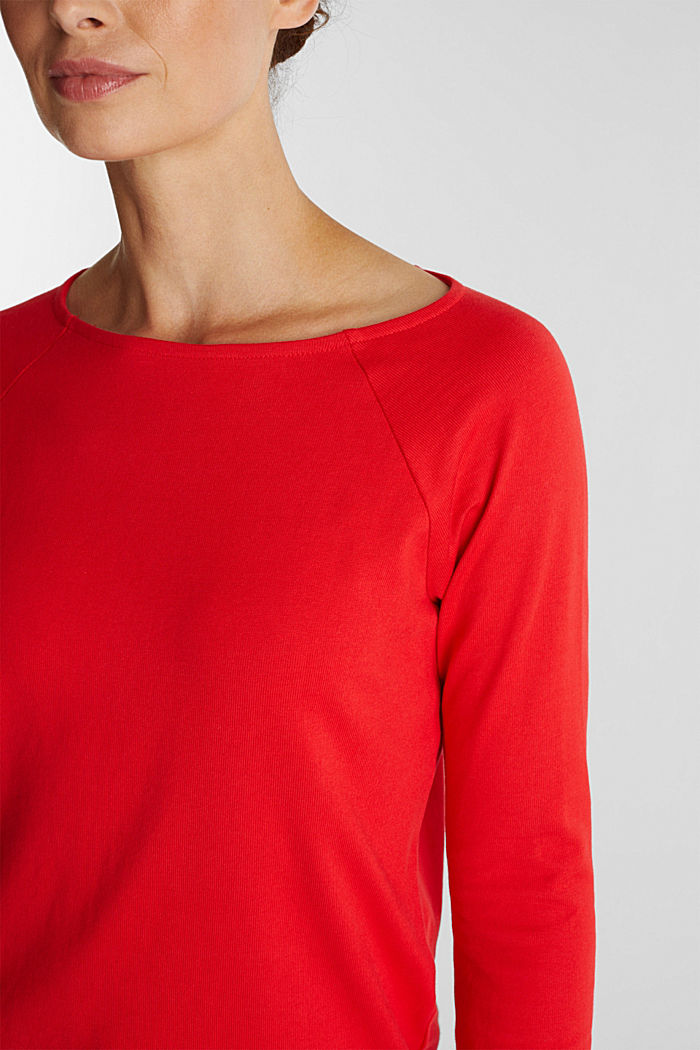 Long sleeve top made of 100% cotton, RED, detail image number 2