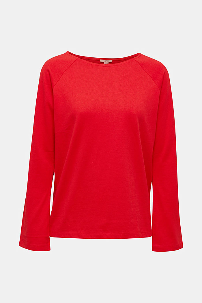 Long sleeve top made of 100% cotton, RED, detail image number 6