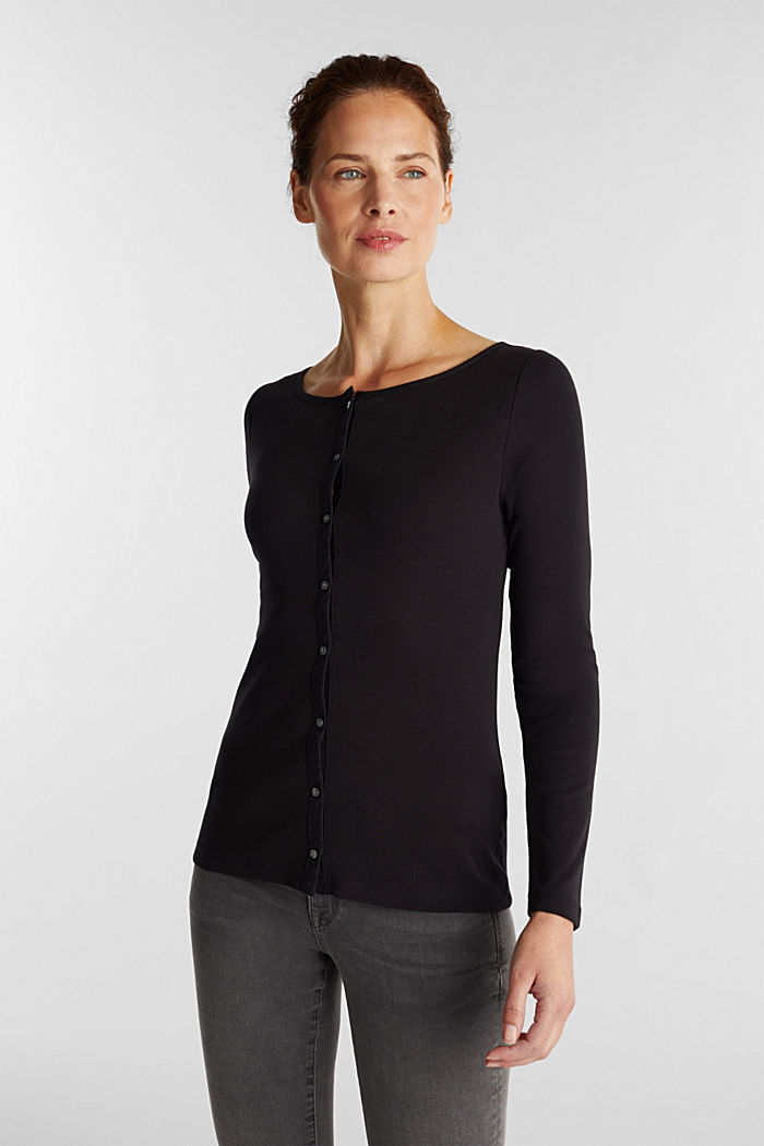 2nd skin ribbed cardigan with organic cotton, BLACK, detail image number 0