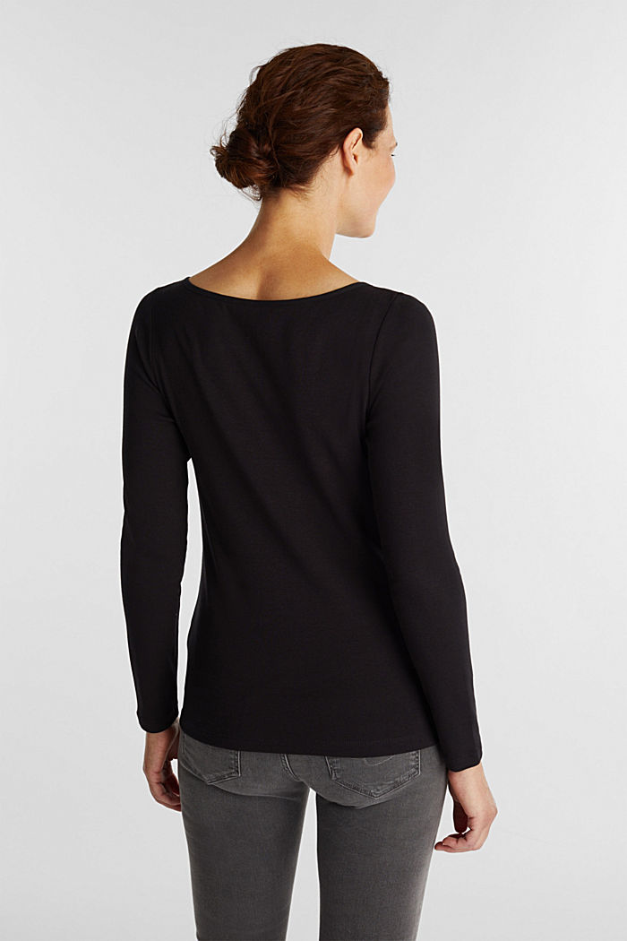 2nd skin ribbed cardigan with organic cotton, BLACK, detail image number 3