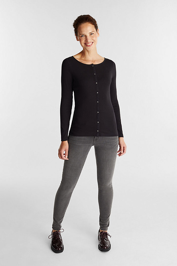 2nd skin ribbed cardigan with organic cotton, BLACK, detail image number 1