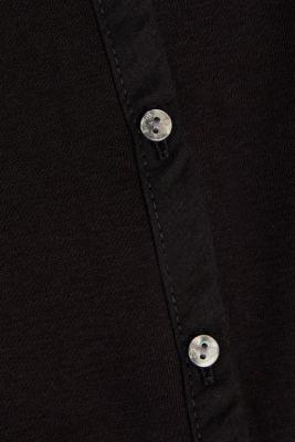 2nd skin ribbed cardigan with organic cotton, BLACK, detail