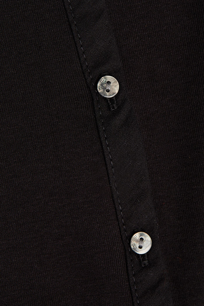 2nd skin ribbed cardigan with organic cotton, BLACK, detail image number 4