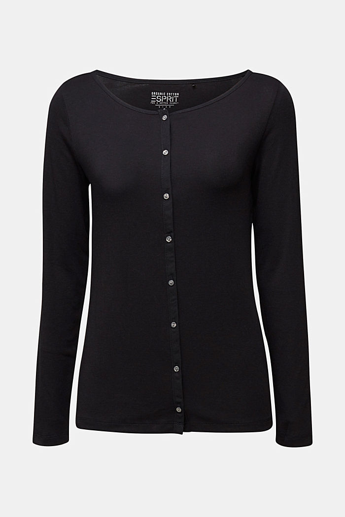 2nd skin ribbed cardigan with organic cotton, BLACK, detail image number 5