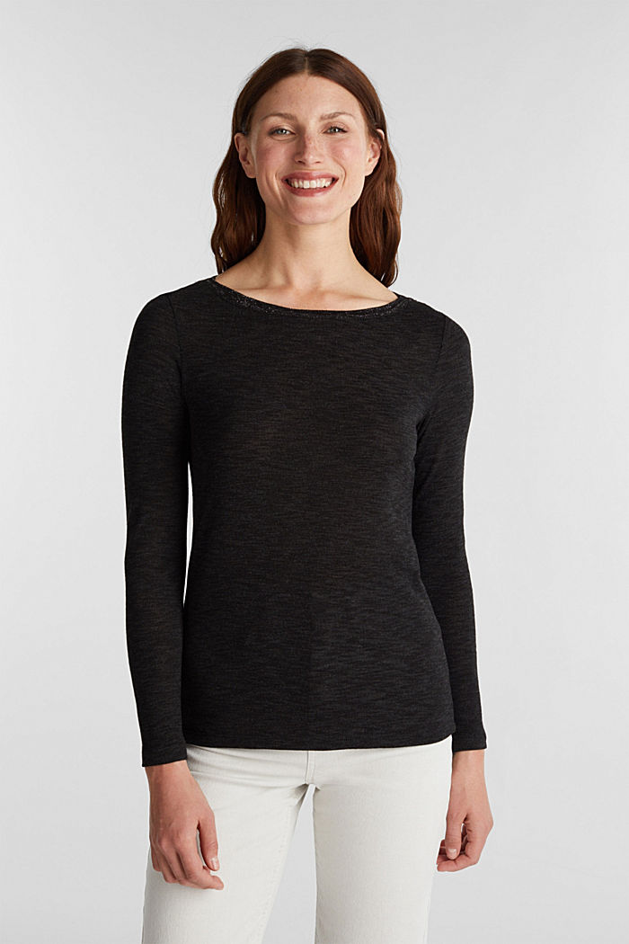 Long sleeve top with glittery thread, BLACK, detail image number 0