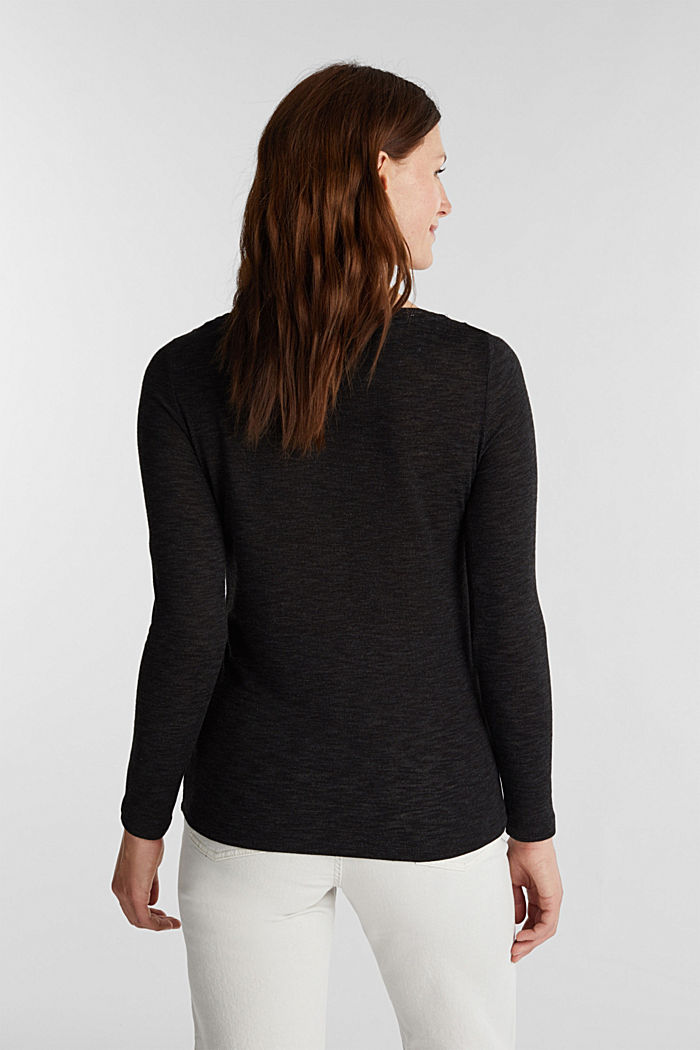 Long sleeve top with glittery thread, BLACK, detail image number 3