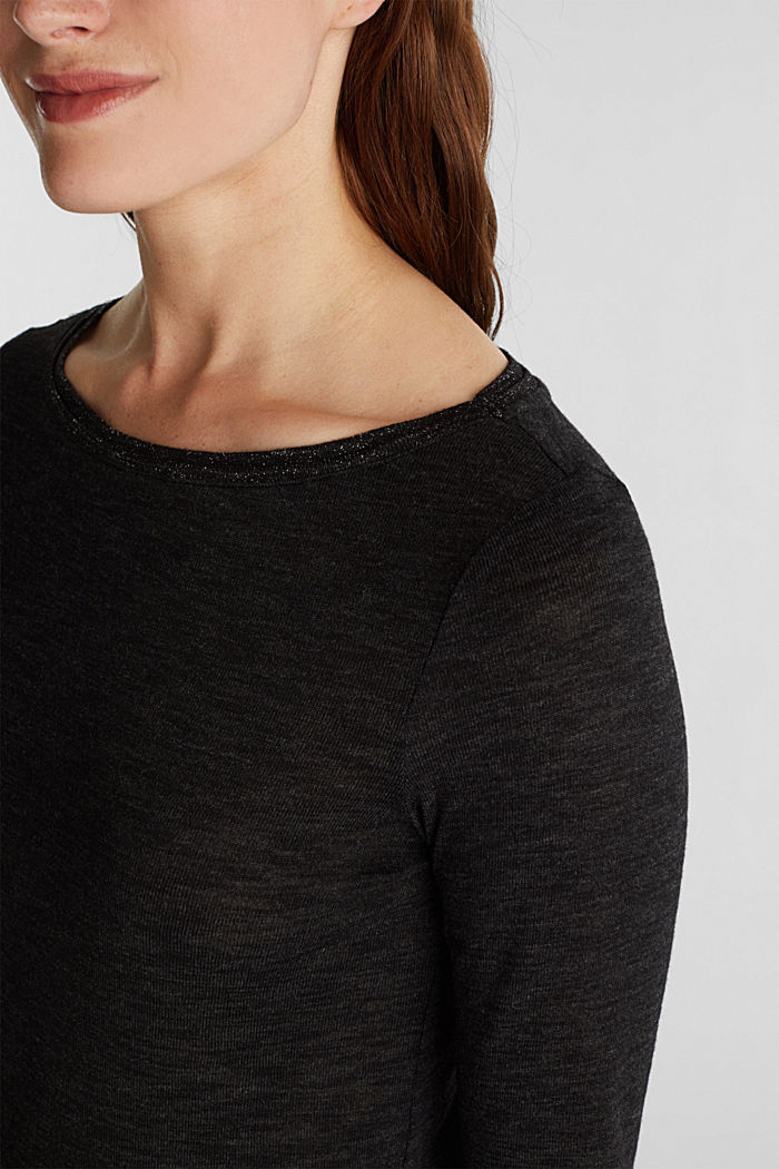Long sleeve top with glittery thread, BLACK, detail image number 2