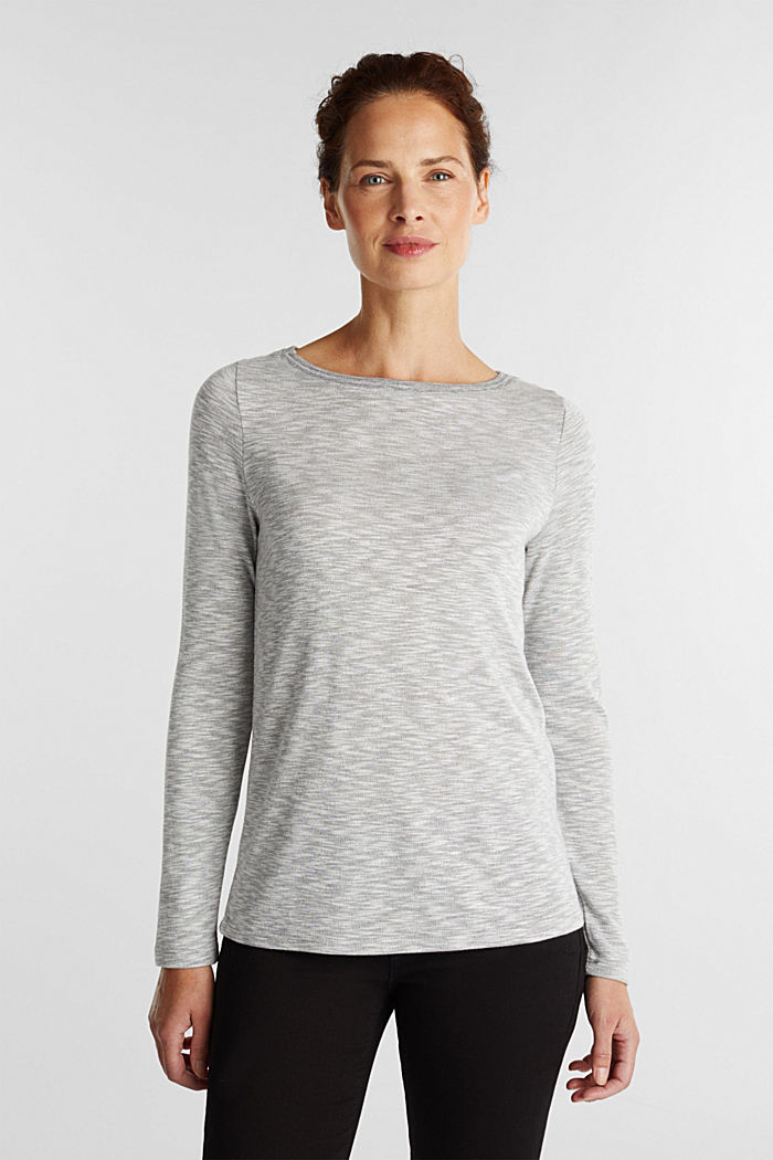 Long sleeve top with glittery thread