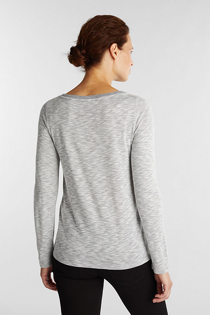 Long sleeve top with glittery thread, LIGHT GREY, detail image number 3