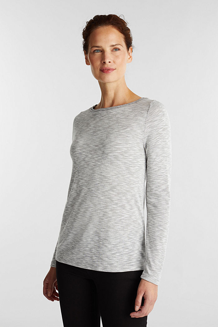 Long sleeve top with glittery thread, LIGHT GREY, detail image number 5