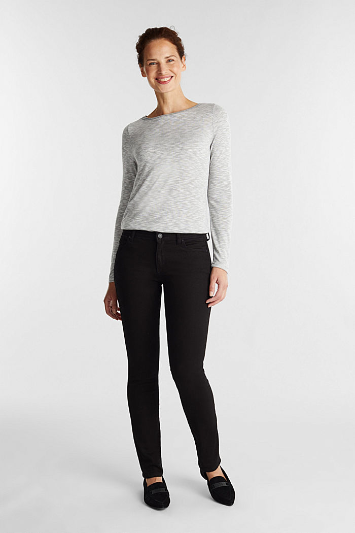 Long sleeve top with glittery thread, LIGHT GREY, detail image number 1