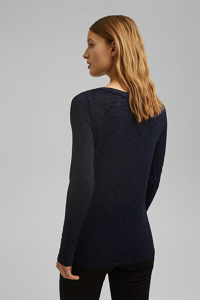 Long sleeve top with glittery thread, NAVY, detail image number 3