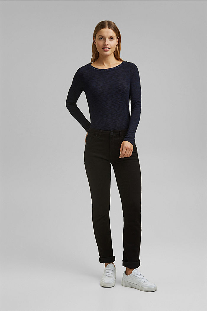 Long sleeve top with glittery thread, NAVY, detail image number 1