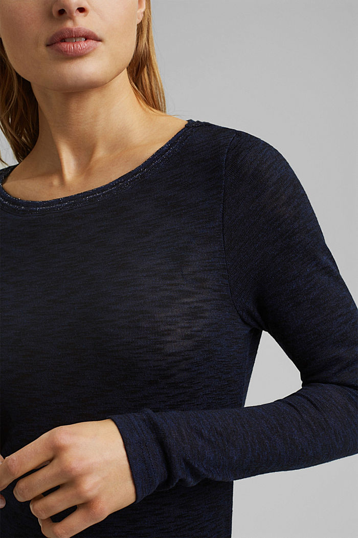 Long sleeve top with glittery thread, NAVY, detail image number 2