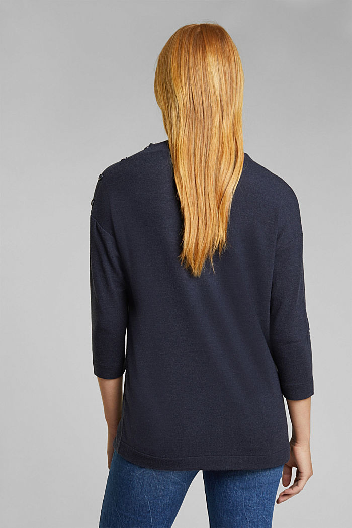 Soft long sleeve top with LENZING™ ECOVERO™, NAVY, detail image number 3