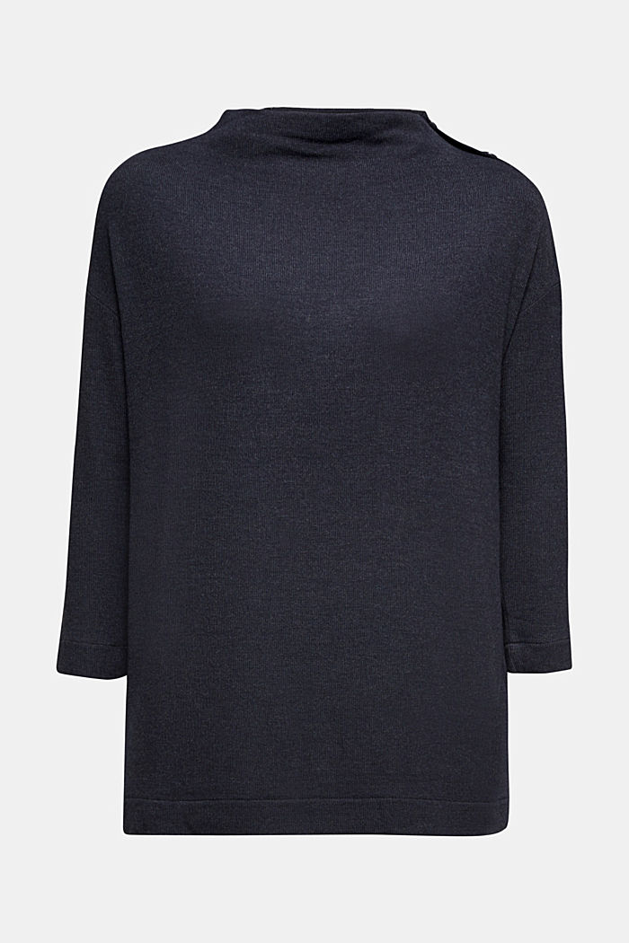 Soft long sleeve top with LENZING™ ECOVERO™, NAVY, detail image number 6