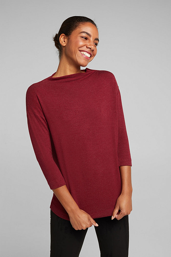 Soft long sleeve top with LENZING™ ECOVERO™, BORDEAUX RED, overview