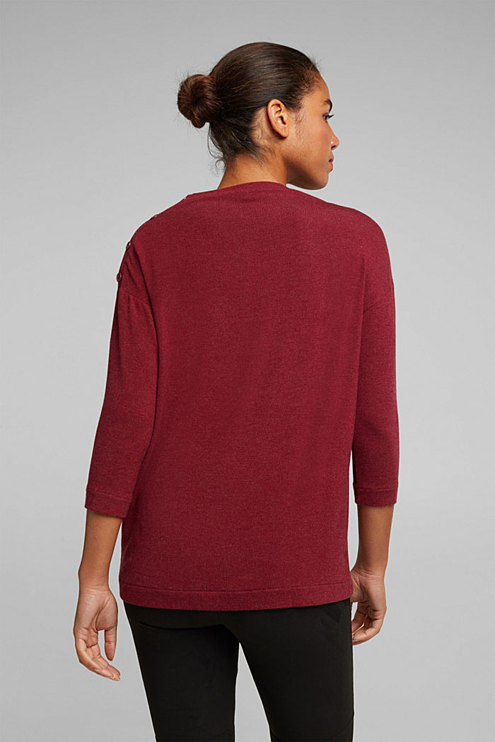 Soft long sleeve top with LENZING™ ECOVERO™, BORDEAUX RED, detail image number 3
