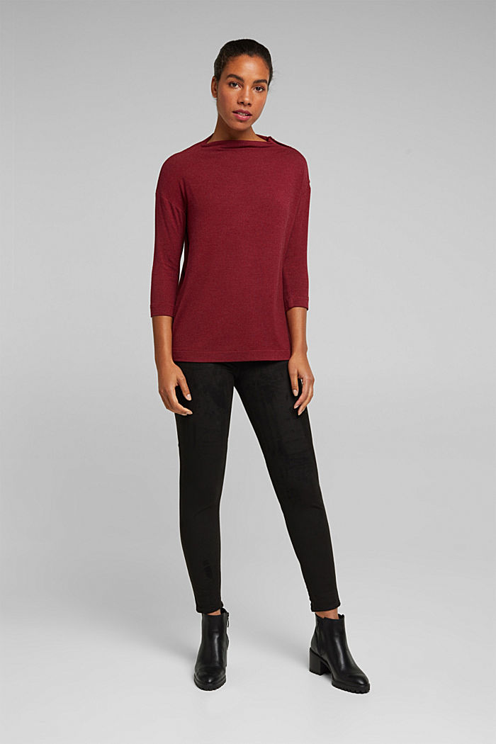 Soft long sleeve top with LENZING™ ECOVERO™, BORDEAUX RED, detail image number 1