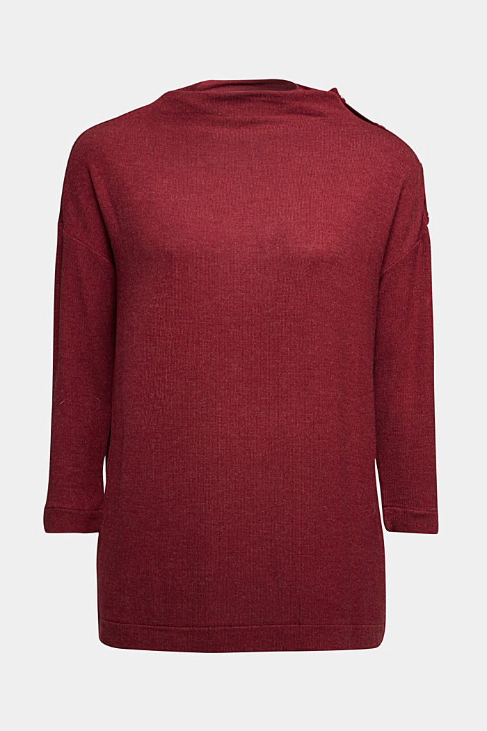 Soft long sleeve top with LENZING™ ECOVERO™, BORDEAUX RED, detail image number 6