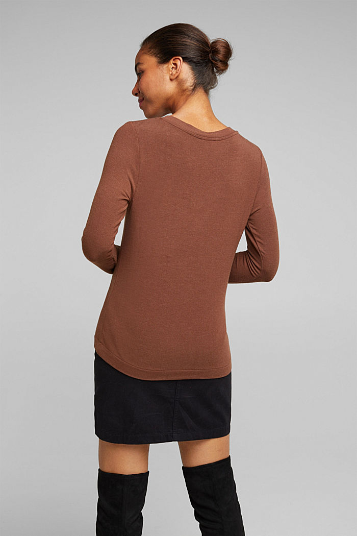 Soft long sleeve top with LENZING™ ECOVERO™, BROWN, detail image number 3