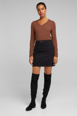 Soft long sleeve top with LENZING™ ECOVERO™, BROWN, detail