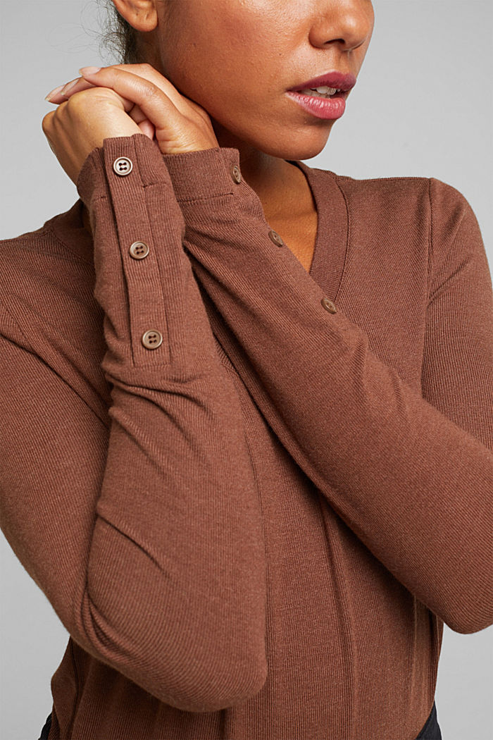 Soft long sleeve top with LENZING™ ECOVERO™, BROWN, detail image number 2
