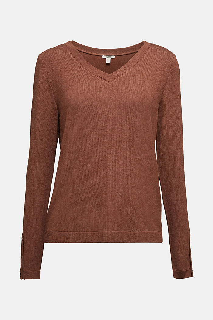 Soft long sleeve top with LENZING™ ECOVERO™, BROWN, detail image number 5
