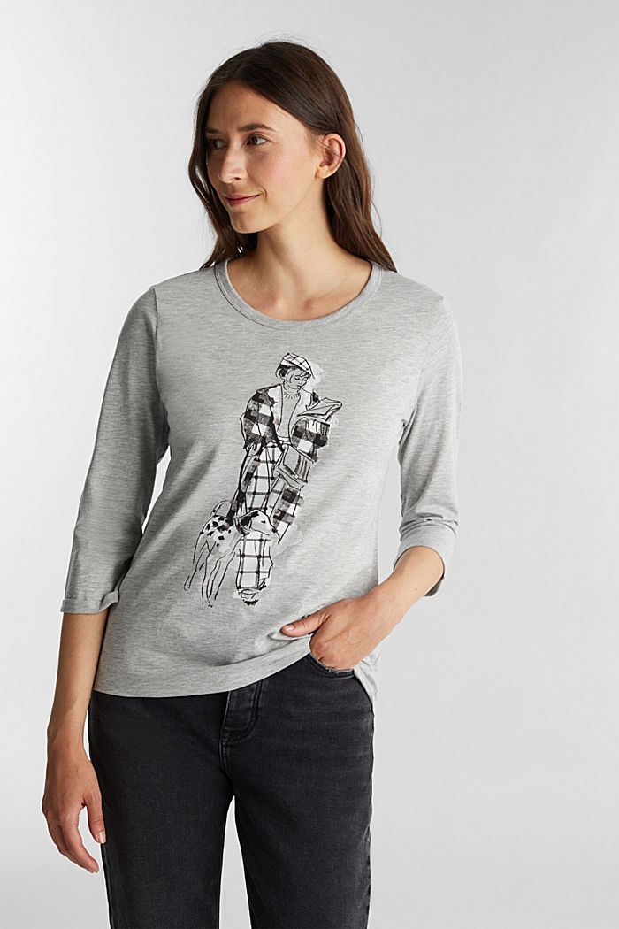 Print long sleeve top with organic cotton, LIGHT GREY, detail image number 0