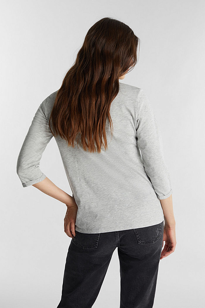 Print long sleeve top with organic cotton, LIGHT GREY, detail image number 3