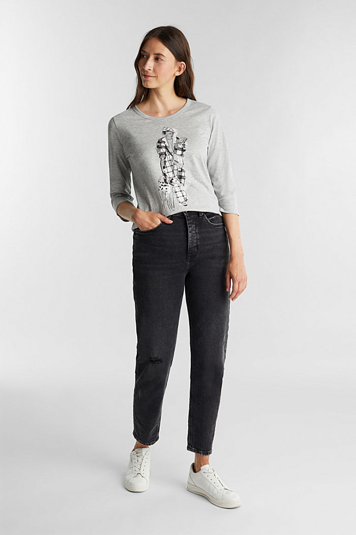 Print long sleeve top with organic cotton, LIGHT GREY, detail image number 1