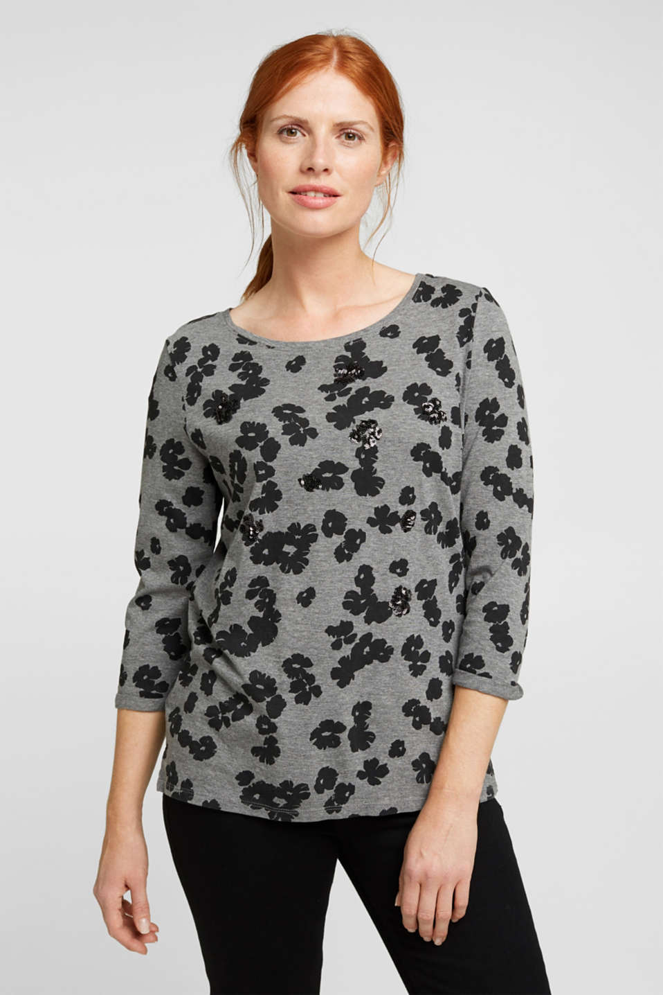 Esprit - Top with sequins and organic cotton