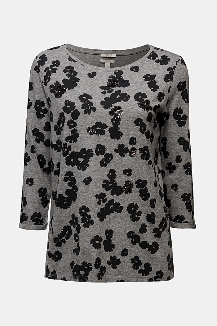 Top with sequins and organic cotton, GUNMETAL, detail image number 5