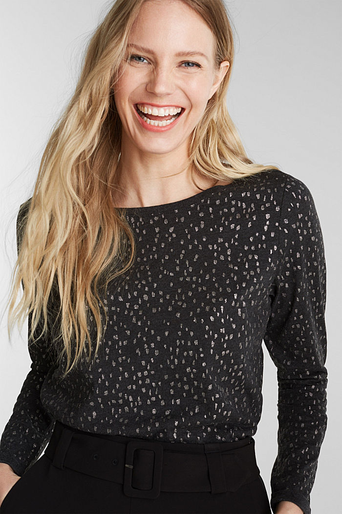 Long sleeve top with a glitter print, BLACK, detail image number 0