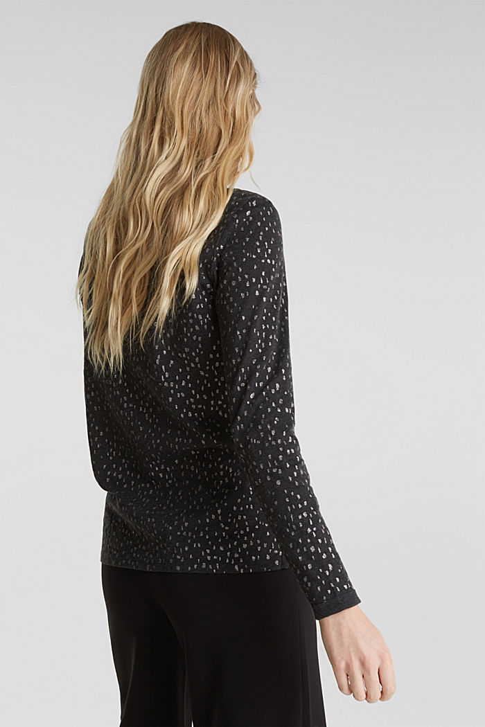Long sleeve top with a glitter print, BLACK, detail image number 3
